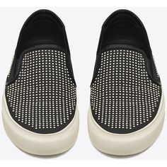 Saint Laurent Skate Slip-On Sneaker (€725) ❤ liked on Polyvore featuring shoes, sneakers, flats, sapato, flat slip on shoes, pointed sneakers, pointy flats, studded flats and studded slip on sneakers