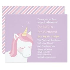 White Unicorn Pink Mane Birthday Party Invitations - girl gifts special unique diy gift idea