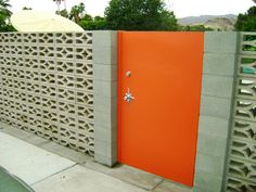 Decorative Screen Block Wall with Starburst Door Escutcheon Plate | Palm Springs, CA - Via