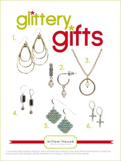 Glittery gifts...Add a little sparkle to your life!  Order the gorgeous Sara Blaine jewelry on my website at   www.denisecosgrove.willowhouse.com