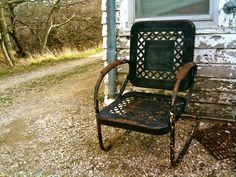 Metal Motel Chair | old metal chair more gardens ideas country cottages lawns chairs ...