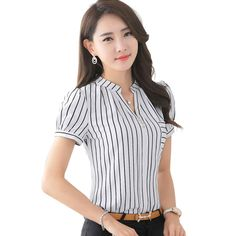 Cheap 2016 moda de verano de la raya camisa para mujer v cuello corto gasa blusa para mujer oficina de negocios formal más tamaño ropa de trabajo tops, Compro Calidad Blusas y Camisas directamente de los surtidores de China: New fashion Slim women's blouse 2016 summer OL Formal V-Neck short sleeve shirt office ladies plus size work wear chiffo