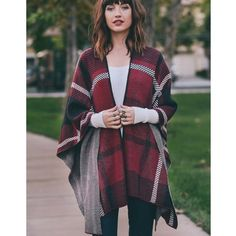 """CLEARANCE """"Fire and Ice"""" Plaid Print Poncho Wrap Plaid print poncho wrap shrug. 43"""" x 57"""". 100% acrylic. Can also be worn as a scarf. Brand new.  One size fits most. NO TRADES. Bare Anthology Sweaters Shrugs & Ponchos"""