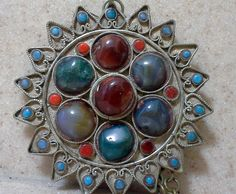 Large Antique Ethnic Kuchi Multi Stone Starburst Pendant Necklace by Lalecreations on Etsy