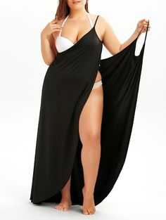 $9.87  Plus Size Slip Wrap Cover Up Dress in Black | Sammydress.com