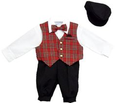 Amazon.com: Boys 5-pc Slacks Set Red Plaid Vest, Dress Shirt, Bowtie, and Newsboy Cap Sizes Infants to 4T: Clothing
