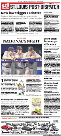 St. Louis Post-Dispatch July 11, 2012  #STL #newspapers
