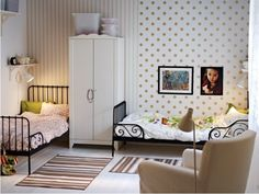 Shared Space with Ikea Minnen beds. Love the reading light behind the dresser for a little privacy.