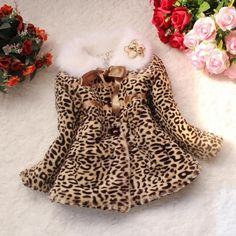 Girls Leopard Faux Fox Fur Collar Coat