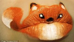 Lip painting by artist Paige Thompson. http://www.dailymail.co.uk/news/article-1357959/Animal-ipstick-A-new-face-painting-gob-smacking-success.html