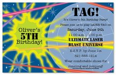 Laser Tag Kids Birthday Party Invitations