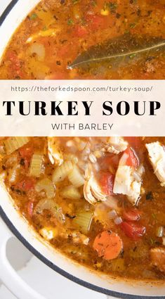 1 reviews · 50 minutes · Serves 8 · This Turkey Soup Recipe is an easy, comforting, go-to recipe after feasting for the holidays. Use what's left of the turkey carcass, add some vegetables and barley, and make a delicious leftover… More