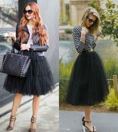 jupe tutu noire, tenue de princesse avec veste en cuir et chemise à carreaux