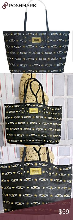 Betsy Johnson black gold studded tote NWOT This tote is NWOT Betsey Johnson  Signature Tote Color b9c4fe2d76f
