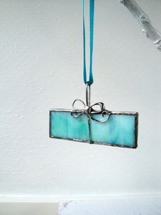 Ornament Stained Glass Aqua Iridescent Present by jstflowergirlart, $18.00