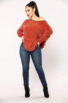 Last Chance Sweater - Rust Style Casual, Casual Fall Outfits, Winter Fashion Outfits, Look Fashion, Trendy Outfits, Casual Dresses, Girl Fashion, Autumn Fashion, Cute Outfits