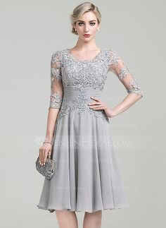 [US$ 139.99] A-Line/Princess Scoop Neck Knee-Length Chiffon Mother of the Bride Dress With Ruffle Appliques Lace