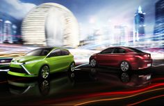 Toyota Dear Qin Concept Hatchback (GREEN) & Sedan (RED)