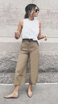 A White Top, Khaki Pants, and Beige Flats