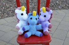 This adorable crochet unicorn is the perfect companion for any unicorn-lover! I currently have one of each in stock: -white and pink -grey and orange -green and purple -blue and purple. This unicorn is about 7 inches tall. Crochet Unicorn, Crochet Amigurumi, Stitches, Crochet Patterns, Trending Outfits, Unique Jewelry, Handmade Gifts, Vintage, Etsy