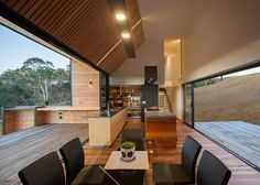 This rural Tasmanian house has a terrace piercing its middle.