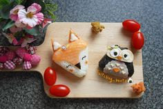 Fox and Owl Onigiri by Suit-Ching WH  (@suitching_bento)