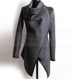 Women's gray Asymmetric Stylish Coat