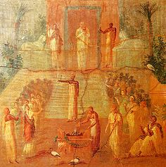 A scene (from Herculaneum),thought to show a shrine in a grove dedicated to the Egyptian goddess Isis, who had a cult following in Greece and Rome.