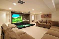 Indoor Driving Range and Golf Simulator Home Golf Simulator, Indoor Golf Simulator, Golf Man Cave, Men Cave, Golf Room, Augusta National Golf Club, Golf Tips Driving, Golf Simulators, Public Golf Courses