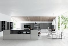 Looking for family kitchen design ideas? Choose your family kitchen from our inspirational photo gallery of functional family design kitchen ideas Contemporary Kitchen Design, Interior Design Kitchen, Küchen Design, House Design, Design Ideas, Modern Kitchen Tables, Modern Kitchens, Italian Kitchens, Fitted Kitchens