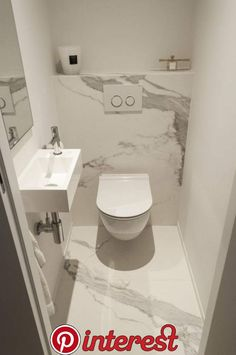 Cloakroom toilet - A light, bright colour scheme is perfect for creating the illusion of space in a small bathroom or cloakroom Opt for white and grey marble tiles to add light and give the room a stylish appearance Small Toilet Room, Guest Toilet, Bad Inspiration, Bathroom Inspiration, Bathroom Ideas, Bathroom Storage, Bathroom Furniture, Furniture Storage, Bathroom Remodeling