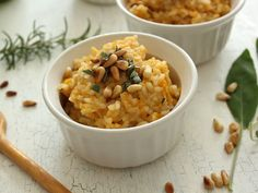A risotto steeped in the flavors of fall - butternut squash, apple, rosemary, and sage. Pinenuts sprinkled on top for some nutty crunch. Chicken Broth Recipes, Veggie Recipes, Fall Recipes, Pasta Recipes, New Recipes, Favorite Recipes, Healthy Recipes, Rice Recipes, Thanksgiving Recipes