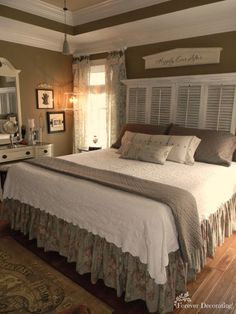 No Cost Decorating ~ Master Bedroom. Love the shutter headboard and the wall color #manchesterwarehouse