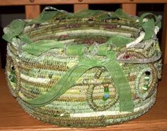This bowl of coiled rope covered in fabric is so pretty.  How clever this is.