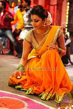 Kajal in marri Indian Look, Dress Indian Style, Indian Dresses, Indian Ethnic, Indian Art, Half Saree Designs, Blouse Designs, Half Saree Lehenga, Sarees
