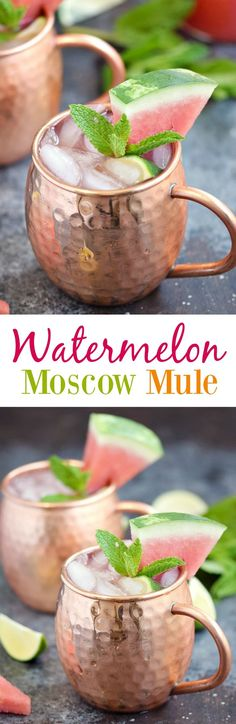 Moscow Mule This Watermelon Moscow Mule is the perfect light and refreshing cocktail to enjoy on those hot summer nights! This Watermelon Moscow Mule is the perfect light and refreshing cocktail to enjoy on those hot summer nights! Snacks Für Party, Party Drinks, Fun Drinks, Yummy Drinks, Alcoholic Drinks, Yummy Food, Cocktails Bar, Refreshing Cocktails, Cocktail Drinks