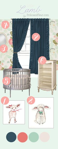 Little Lamb • Modern Girl Nursery Inspiration Love everything about this, BUT the round crib