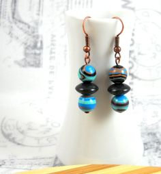 Blue Stripe Turquoise Drop Earrings Turkey by HerBeautyFound, $10.00 copper, black, ethnic print, tribal jewelry, gifts for her