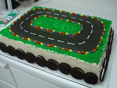 Image detail for -added 4 matchbox cars to the track after refrigerating it for awhile . Toddler Birthday Cakes, New Birthday Cake, Race Car Birthday, Birthday Cakes For Men, Cars Birthday Parties, 4th Birthday, Birthday Ideas, Race Track Cake, Race Car Cakes