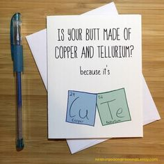 Geeky Love Card Chemistry Humor Nerd Card Anniversary Card Love Greeting Cards I Love You Any Occasion Romantic Card For Husband Bf Gifts, Diy Gifts For Boyfriend, Boyfriend Card, Funny Birthday Cards, Diy Birthday, Chemistry Humor, Cute Puns, Karten Diy, Pun Card