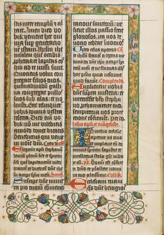 Decorated Text Page; Unknown; Westphalia, Germany; about 1500 - 1505; Tempera colors, gold paint, and ink on parchment; Leaf: 38.7 x 27.9 cm (15 1/4 x 11 in.); Ms. 18, fol. 22