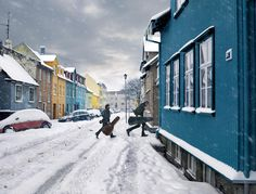 Winter in downtown Reykjavík, Iceland, makes the houses shine bright in the snow. We scoot together, socialize and have fun - and you are more than welcome to join. Make sure to bring warm clothes and a camera for awesome photos!