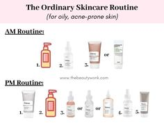The Ordinary Skincare Routine for Oily, Acne-Prone Skin - - An easy, minimal and effective skincare routine for oily, acne-prone skin using The Ordinary products! This routine will also hydrate and even out the skin. Oily Skin Routine, Basic Skin Care Routine, Skin Care Routine Steps, Morning Skincare Routine, Nightly Skin Care Routine, Facial Routine Skincare, Face Routine, The Ordinary Oily Skin, The Ordinary Skincare Guide
