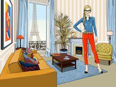 #AnnaLazareva #ParisFashion #vector #digitalillustration #digital #illustration #fashion #Paris #EiffelTower #lifestyle #livingroom #interiorDesign #roomwithaview #clothing @Lindgren Smith