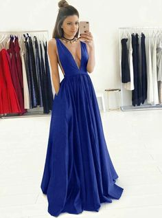 modest plunging formal party dresses , chic royal blue evening gowns for special occasion