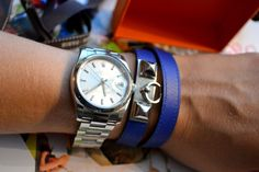 Electric Blue... Rivale Hermes bracelet!!! Hermes Bracelet, Bracelet Watch, Bracelets, Electric Blue, Rolex Watches, New Baby Products, Style Inspiration, Jewels, Handbags