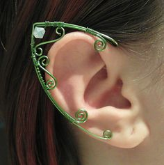 I would totally wear these to the Hobbit premiere!!  Elf Ear Cuffs   Elven Jewelry  Custom Color by MadeByKozee on Etsy, $49.00 - Base Color = light green, Highlight Color = light green