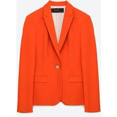 Zara Buttoned Blazer ($70) ❤ liked on Polyvore featuring outerwear, jackets, blazers, coral, button jacket, zara blazer, red blazer jacket, zara jacket and red blazer