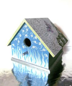 images of hand painted birdhouses | Clearance Hand Painted Birdhouse: White Leaves and a Butterfly