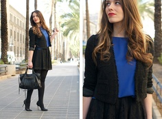 Captivate Blouse, Suiteblanco Jacket, Balenciaga Bag | Klein blue blouse (by Macarena Gea) | LOOKBOOK.nu